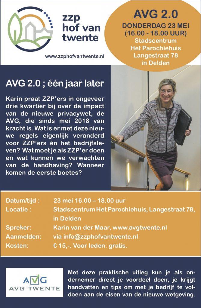 AVG 2.0 voor ZZP'ers in Hof van Twente,  zorg dat je erbij bent op 23 mei